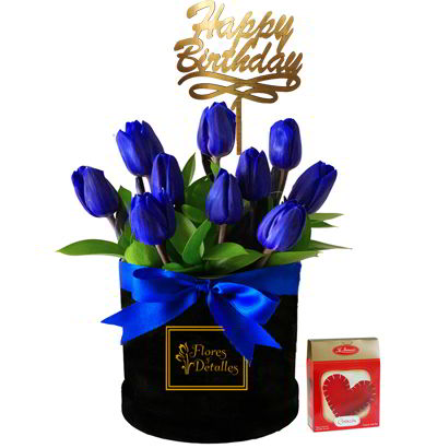 Box con 10 Tulipanes Azules